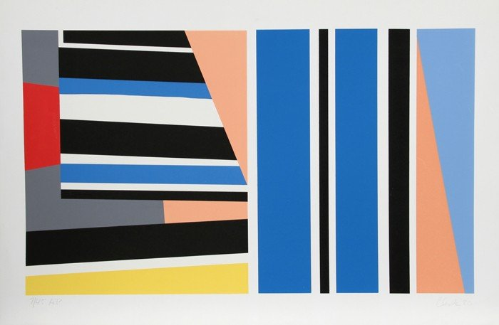 262: Pierre Clerk, Abstract with Blue, Serigraph