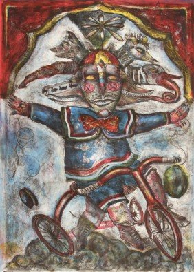 813: Alejandro Colunga, Clown on Tricycle, Lithograph