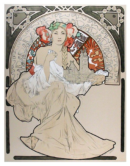 9: Alphonse Mucha, Lovely Protector, 70, Lithograph Pos