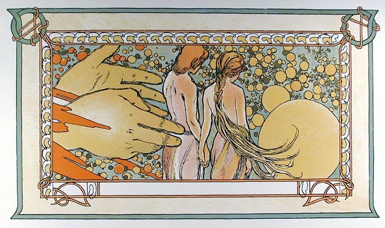 10: Alphonse Mucha, Hands of God, 71, Lithographic Post