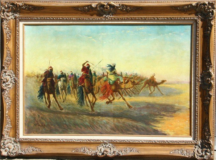 17: Vincent Manago, Moroccan Battle Scene, Oil Painting