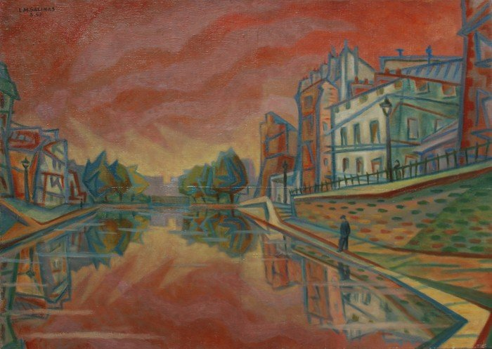 23: Laurent Marcel Salinas, City Canal in Red, Oil Pain