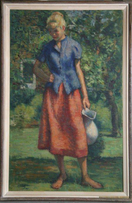 31: William J. Schultz, Outdoor Figure Study, Oil Paint