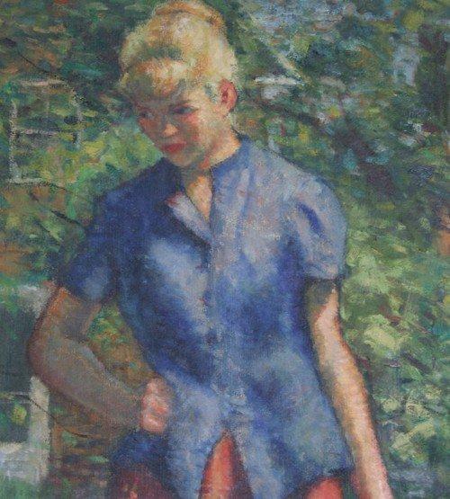 31: William J. Schultz, Outdoor Figure Study, Oil Paint - 3