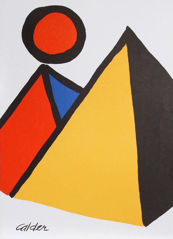 6: Alexander Calder, Pyramids and Sun, Lithograph