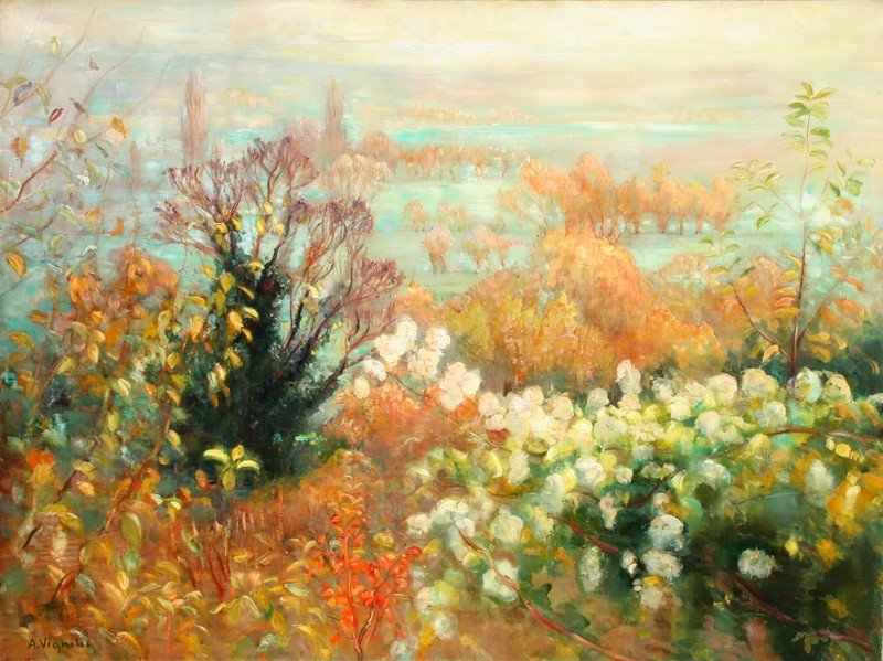 13: Andre Vignoles, Paysage d'Automne, Oil Painting