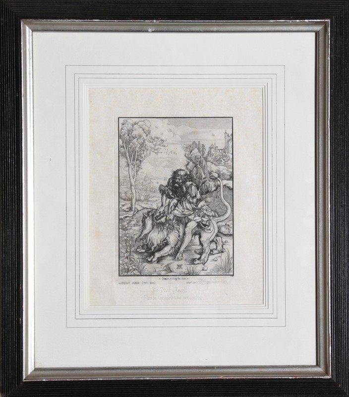 1: Albrecht Durer, Samson Killing Lion, Etching