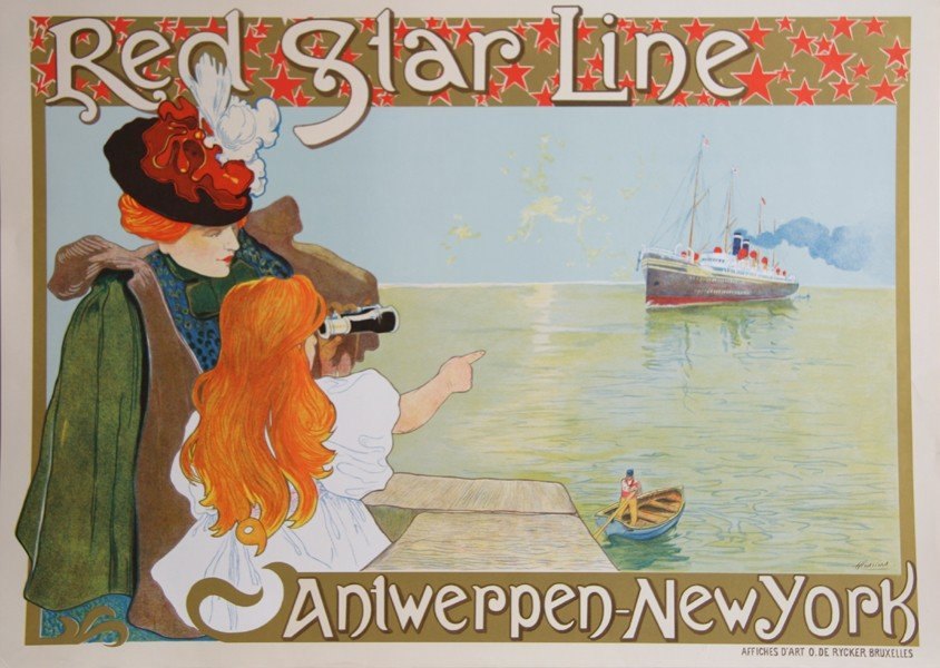 7: Henri Cassiers, Red Star Line, Poster