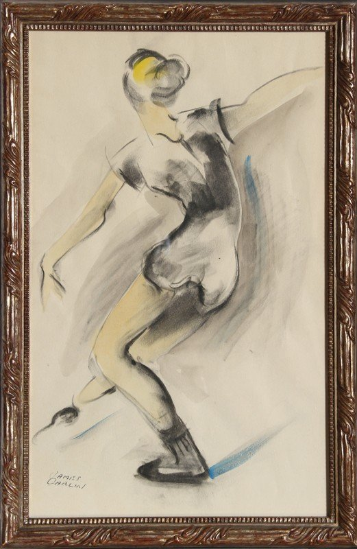 11: James Carlin, Dancer, Watercolor and Charcoal Drawi