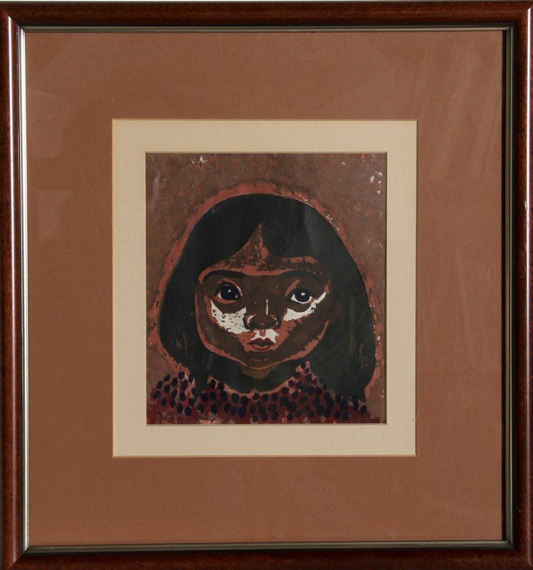 14: Kiyoshi Saito, Portrait of a Girl, Woodcut