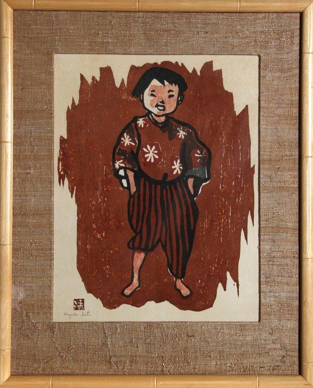 16: Kiyoshi Saito, Boy, Woodcut