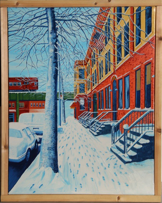 17: Lawrence Madine, Footsteps in the Snow, Oil Paintin