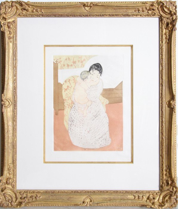 503: Mary Cassatt, Mother and Child, Color Etching