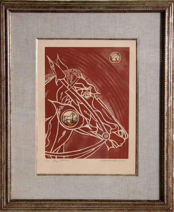 511: Martin Barooshian, Prize Stallions, Woodcut