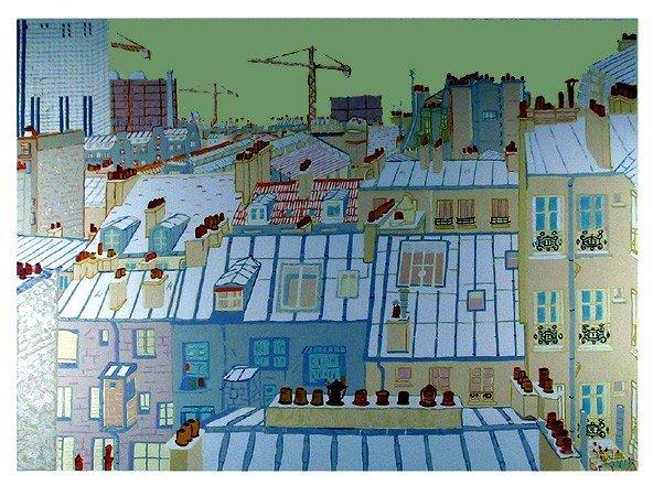 515: Marion McClanahan, Paris Roofs, Serigraph
