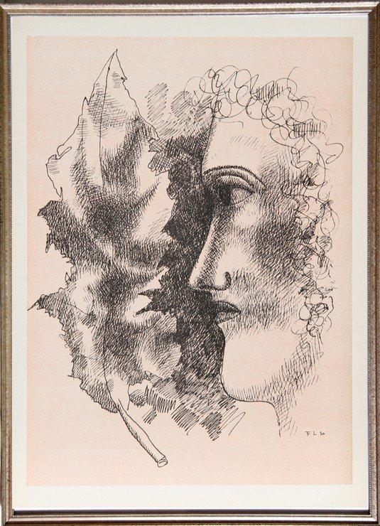520: Fernand Leger, Tete et Feuille, Lithograph