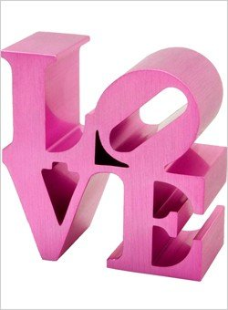 728: Robert Indiana, Pink Love, Aluminum Sculpture