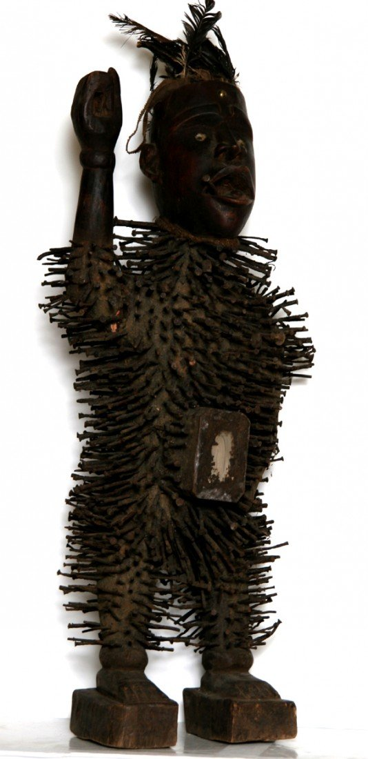 1: African Figure with Nails Sculpture