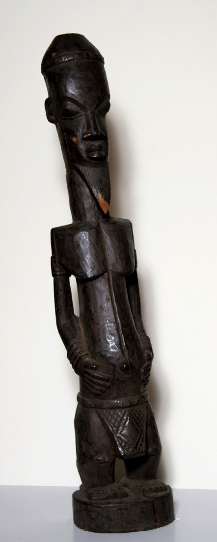 2: African Male Figure, Carved Wood Sculpture