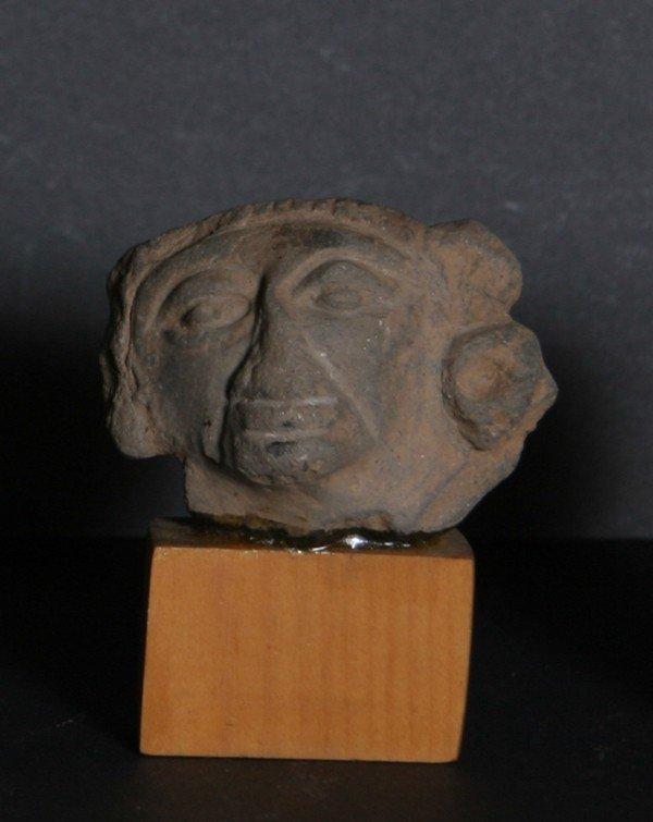 3: Pre-Columbian Zapotec Head Fragment, Terra Cotta