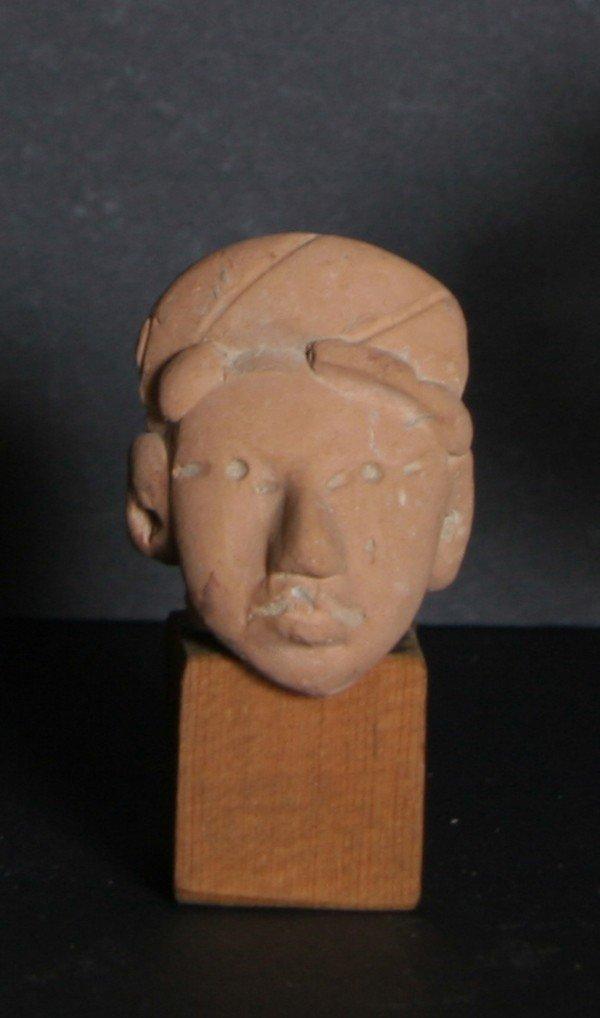 4: Pre-Columbian Huastec Head Fragment, Terra Cotta