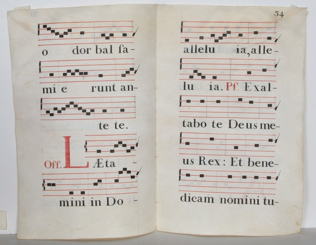 8: Music Sheets from a Spanish Antiphonary, Four Hand-P