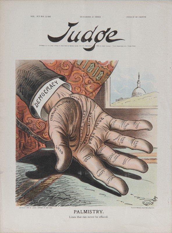 9: Bernhard Gillam, Palmistry from Judge Magazine, Lith