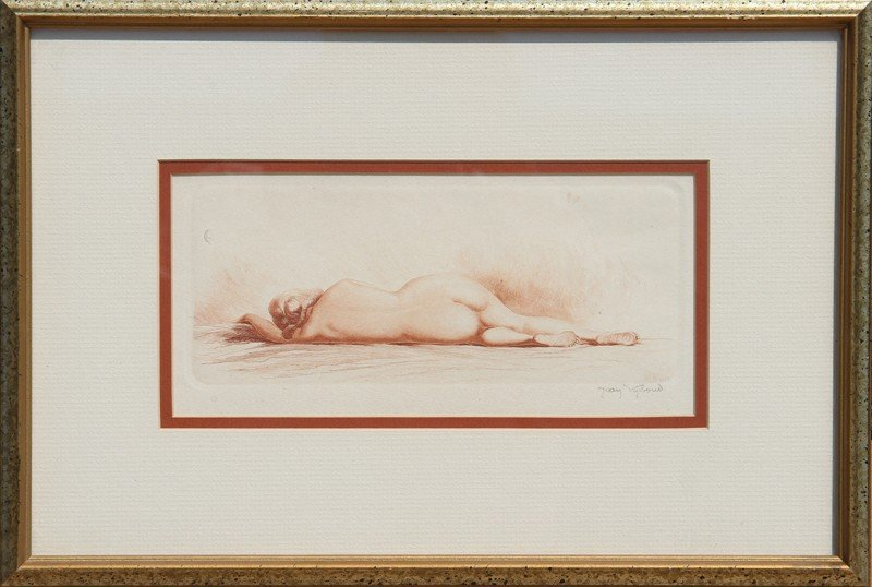 17: Jean-Auguste Vyboud, Reclining Nude, Etching