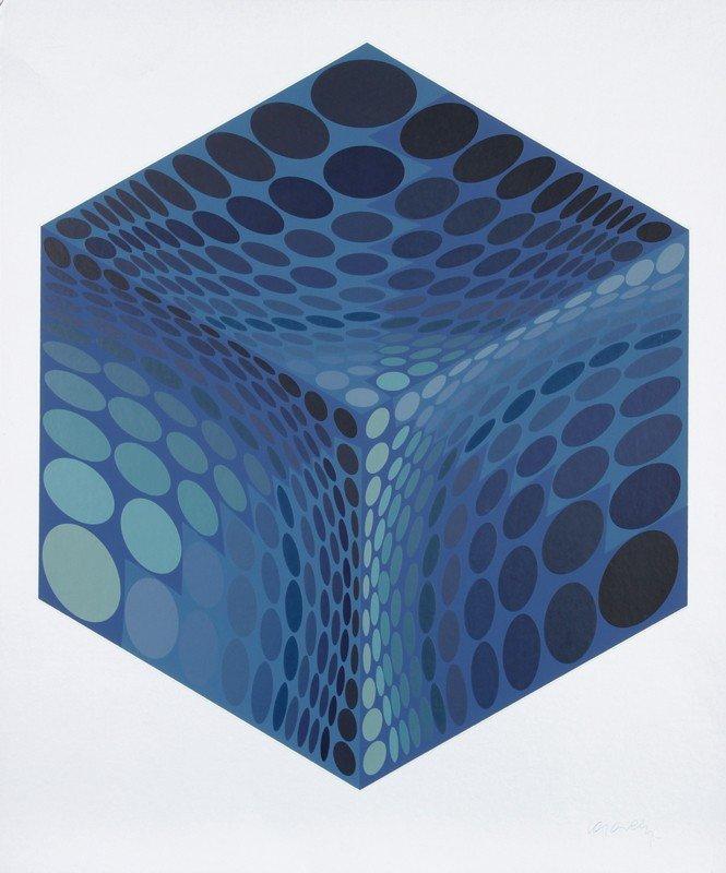 164: Victor Vasarely, Parmenide (Blue and Silver), Seri