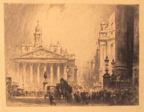 Perry Robertson, The Royal Exchange, Etching