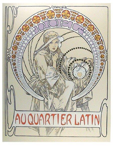 4: Alphonse Mucha, Au Quartier Latin, 65, Lithograph Po