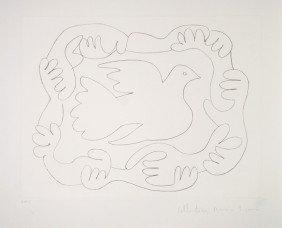 17: Pablo Picasso, Etudes De Mains Et Colombe, Lithogra