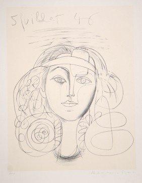 Pablo Picasso, Portrait De Femme, Lithograph