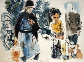 Moshe Gat, Men And Boy With Cacti, Gouache And Wate
