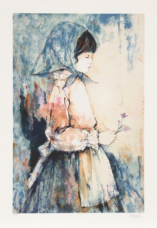 63: Richard Shepard, Girl Holding Flowers, Lithograph