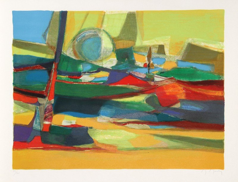 67: Marcel Mouly, Seascape, Lithograph