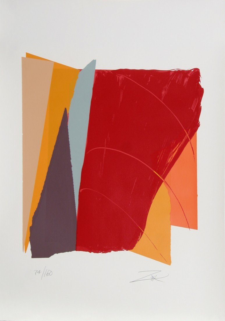 73: Larry Zox, Red Line I, Serigraph