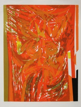 Seong Moy, Red Tapestry, Serigraph