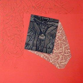 Martin Barooshian, Untitled (red), Mixed Media Artw