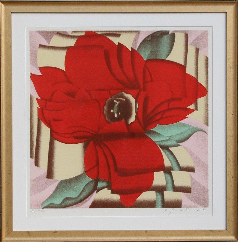 125: Jack Brusca, Red Flower, Serigraph