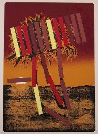138: Menashe Kadishman, Red Palm, Serigraph