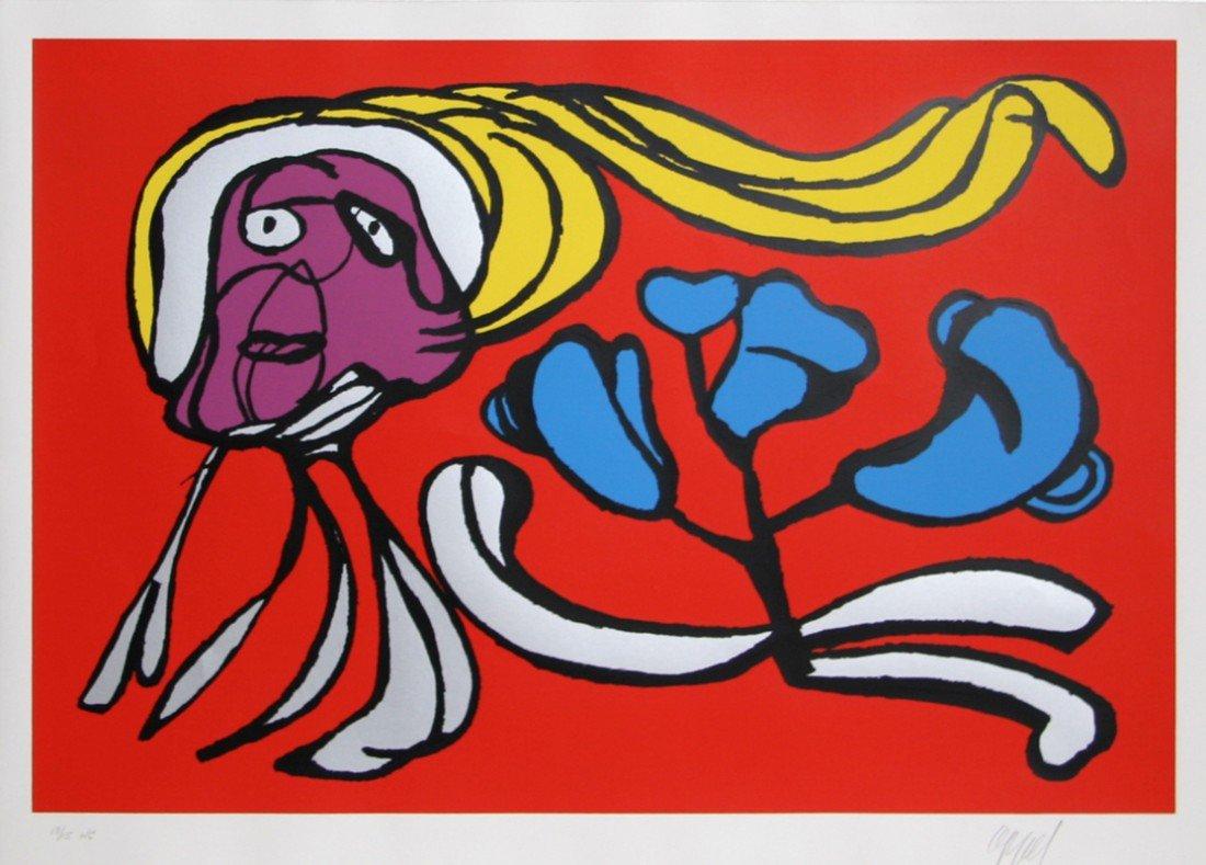 142: Karel Appel, Floating Red Passion, Silkscreen