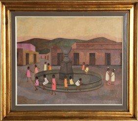 254: Gustavo Montoya, Children Around Fountain, Oil Pai