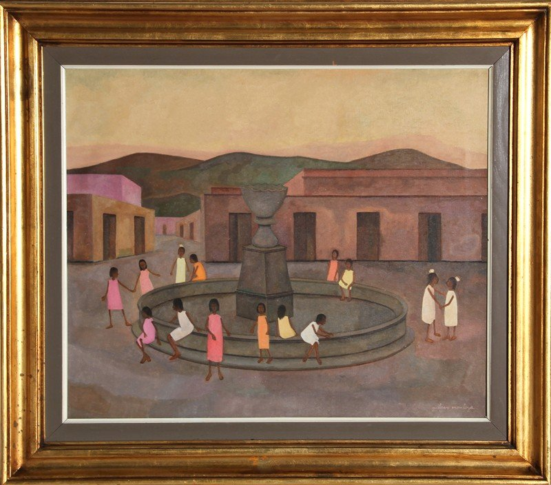 254: Gustavo Montoya, Children Around Fountain, Oil Pai