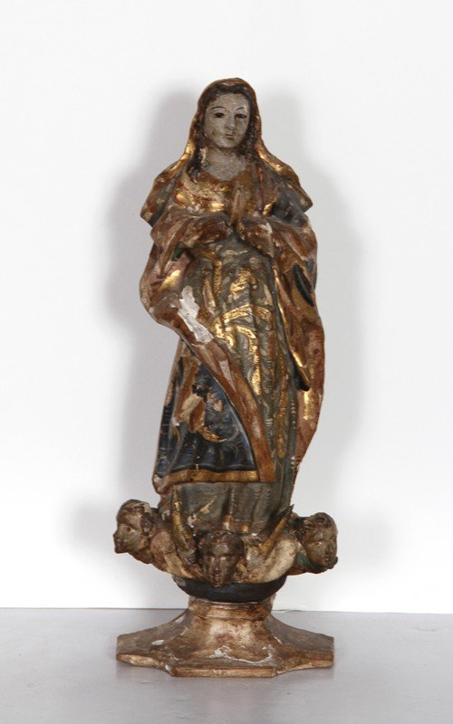 5: Religious Figure IV, Hand-Carved and Painted Wood Sc