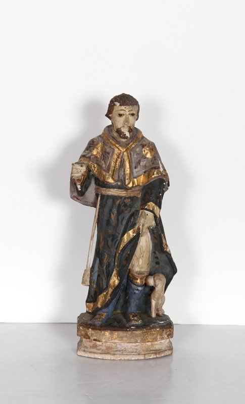 6: Religious Figure V, Hand-Carved and Painted Wood Scu