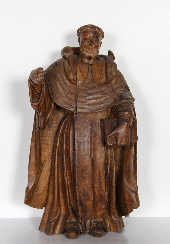 7: Monk, Hand-Carved Wood Sculpture