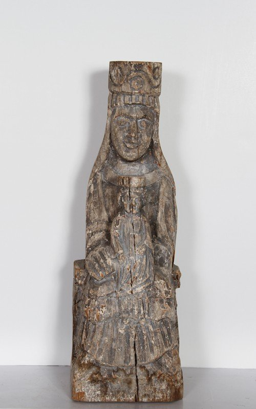 8: Mother and Child, Hand-Carved Wood Sculpture
