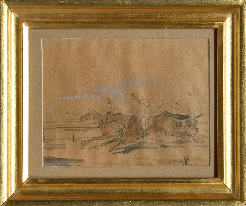 9: Juliusz Kossak, Horse Race, Watercolor