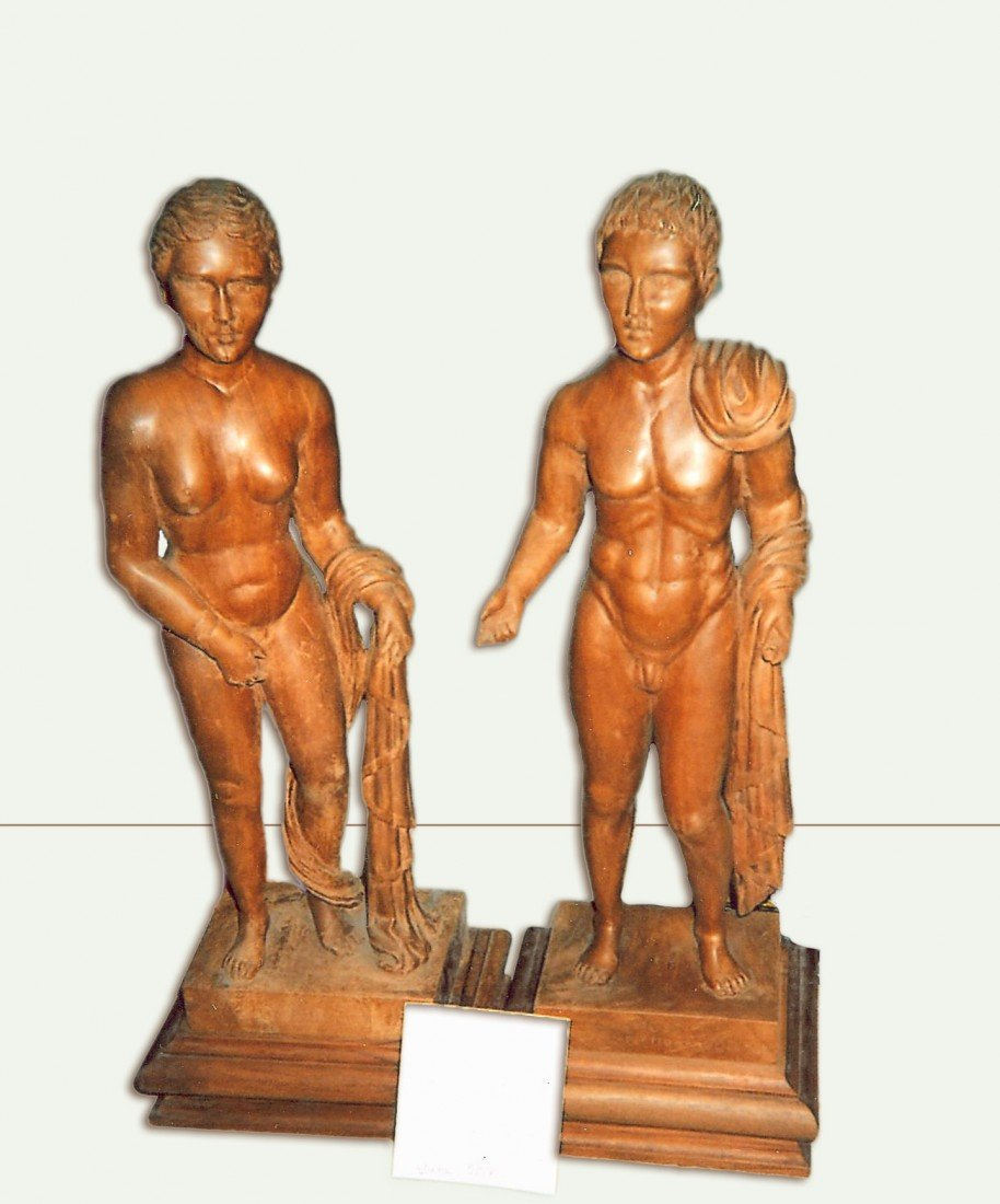 17: Italian Statuettes, Wood Carved Sculptures